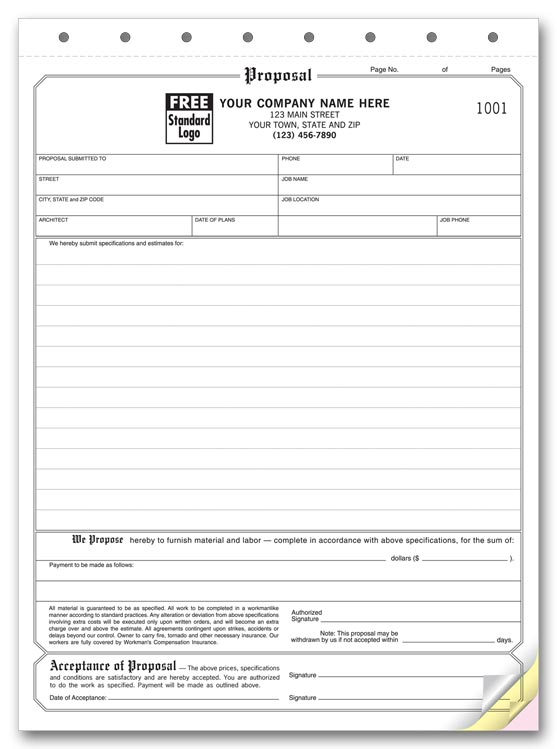 proposal forms acceptance forms contractor forms print forms. Black Bedroom Furniture Sets. Home Design Ideas