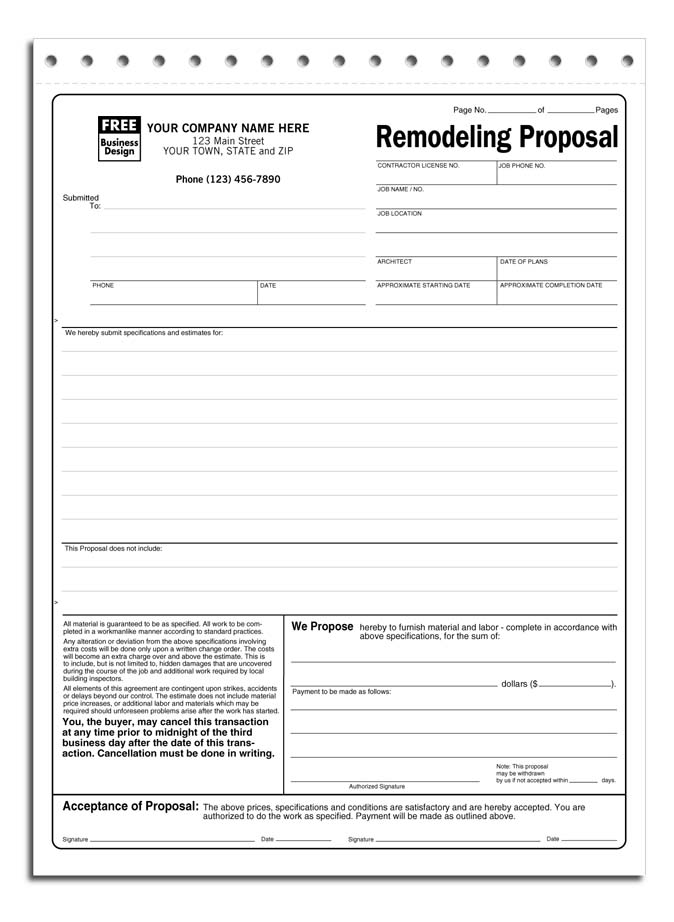 Proposal Form Jpeg Remodeling Proposal Proposal Forms Acceptance
