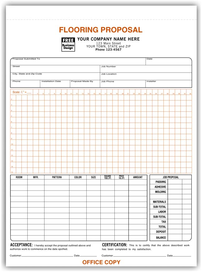 Proposal Forms Acceptance Forms Contractor Forms Print