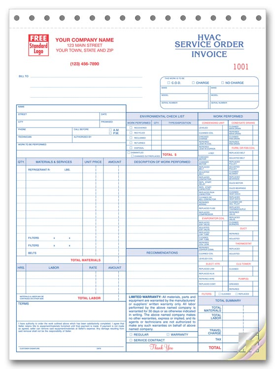 Work Orders HVAC Work Order HVAC Work Orders Print Forms - Free printable hvac invoice template for service business