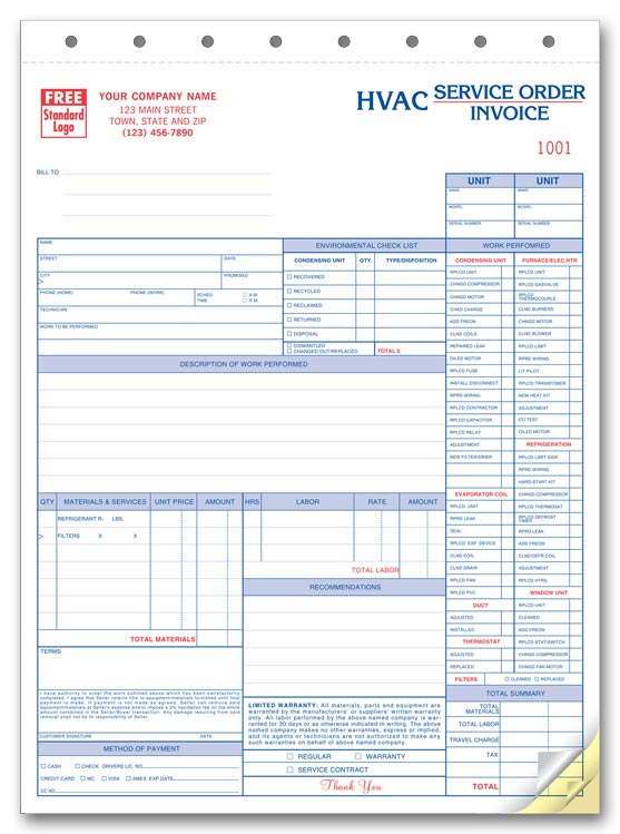 Work Orders HVAC Work Order HVAC Work Orders Print Forms - Free contractor invoice for service business