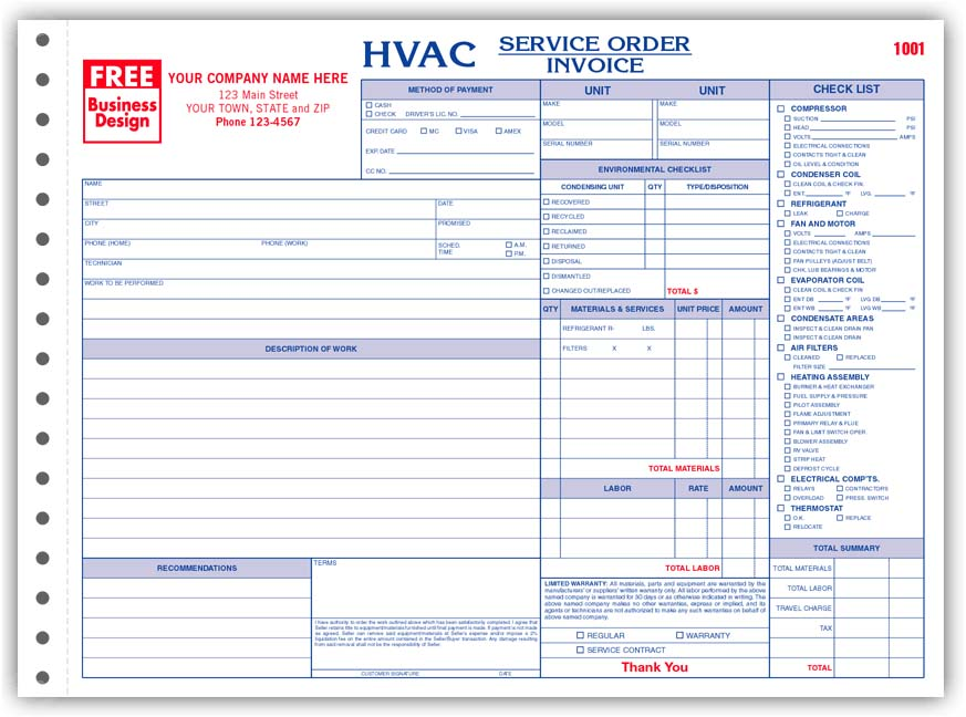 Hvac Invoice Templates Click To Enlarge Free Design Fast